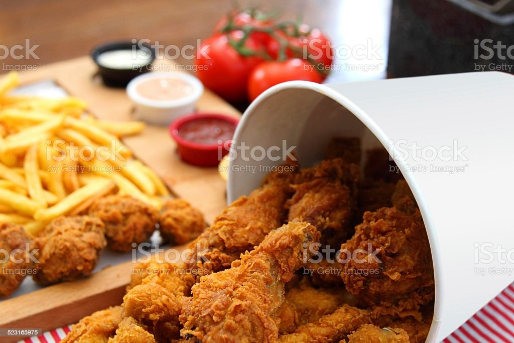 Fried Chicken Bucket Composition stock photo