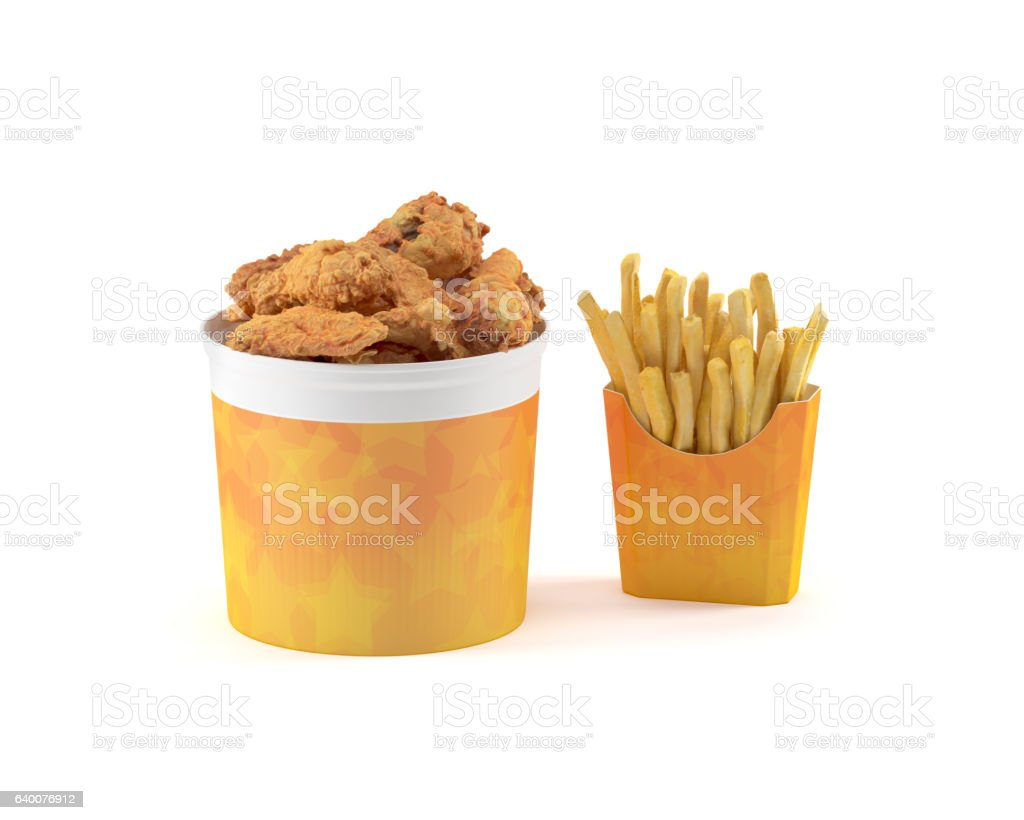 Fried Chicken Bucket & French Fries Isolated on White Background stock photo