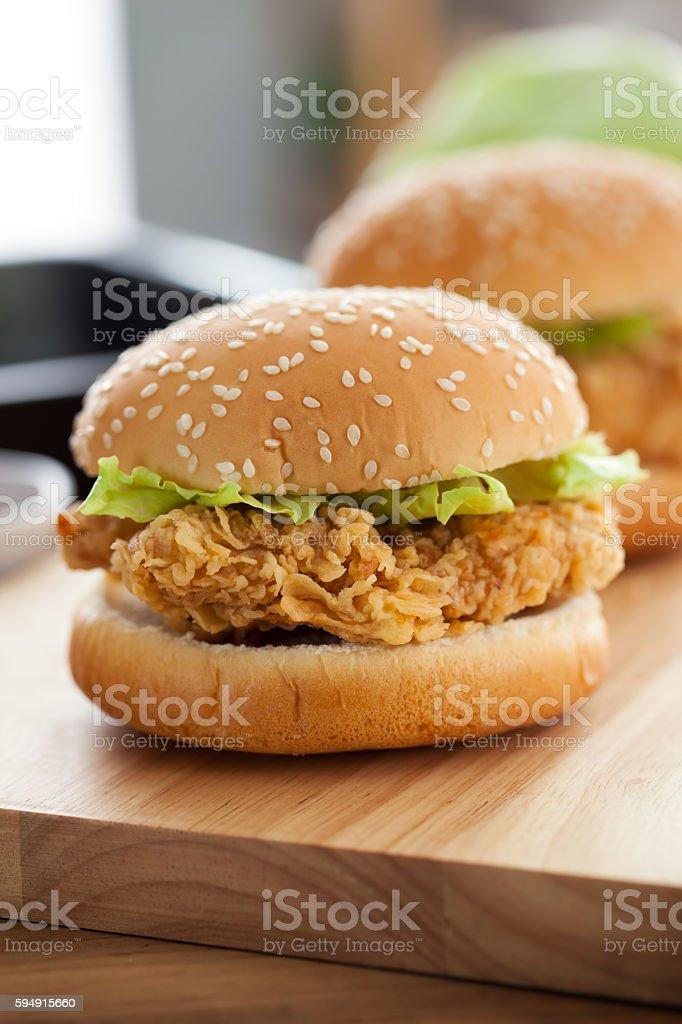 fried chicken burger stock photo