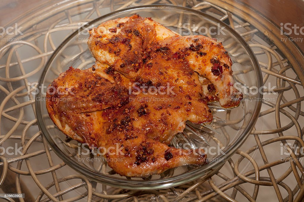 Fried chicken. Chicken tobacco or chicken tapaka. Georgian cuisi stock photo
