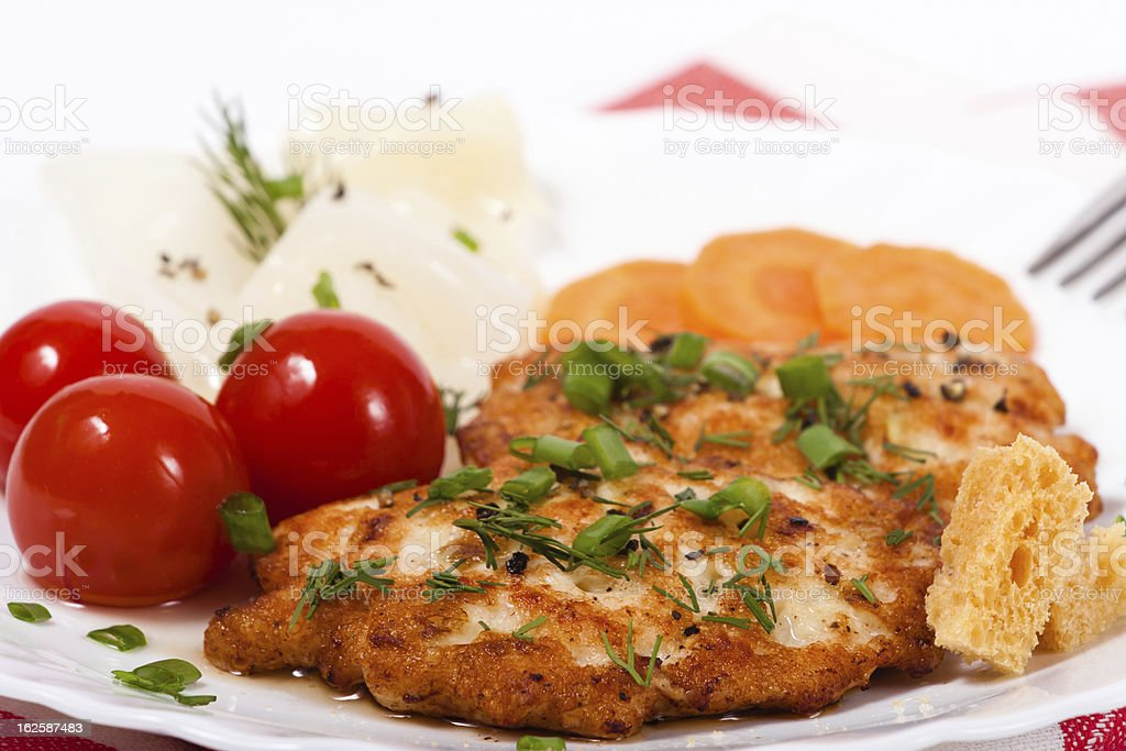 Fried chicken chopped meat cutlet with salty vegetables stock photo