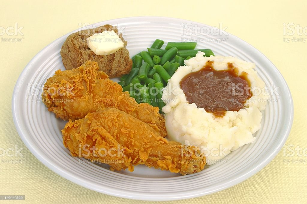 Fried Chicken Dinner royalty-free stock photo