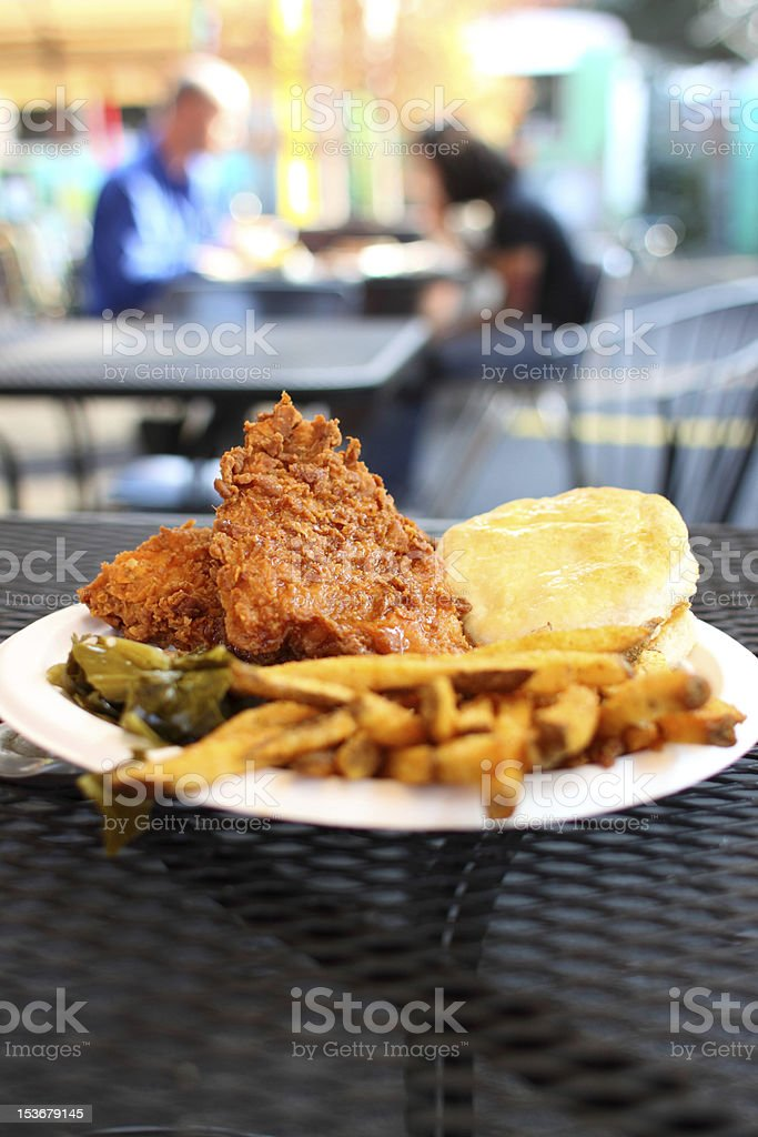 Fried chicken dinner with sides royalty-free stock photo