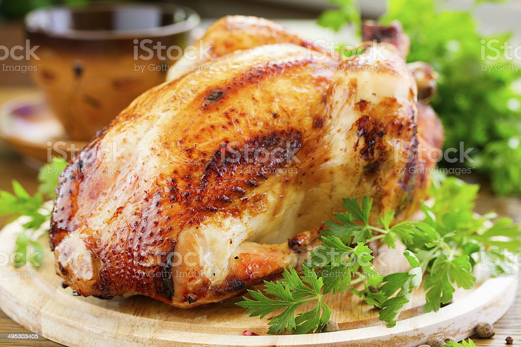 Fried chicken. festive dish. stock photo