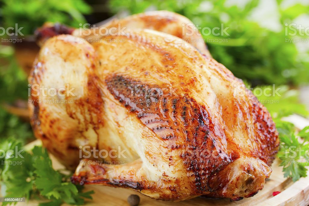 Fried chicken. festive dish. stock photo