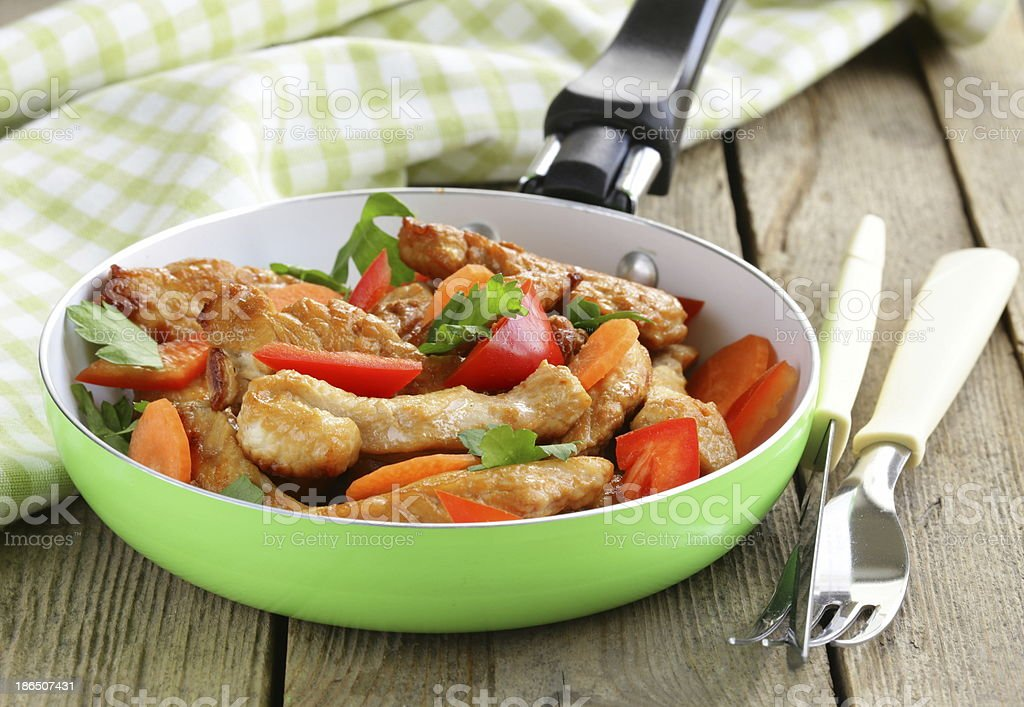 fried chicken (turkey) fillets with vegetables in a pan royalty-free stock photo