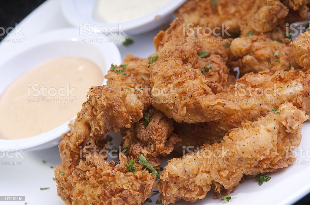 Fried Chicken Fingers with Dressing royalty-free stock photo