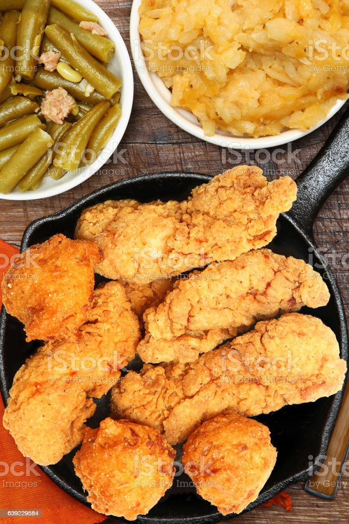 Fried Chicken, Hash Brown Casserole and Green Beans stock photo