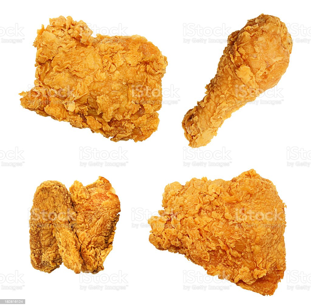 Fried Chicken Isolated Collection Assortment stock photo