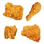 Fried Chicken Isolated Collection Assortment