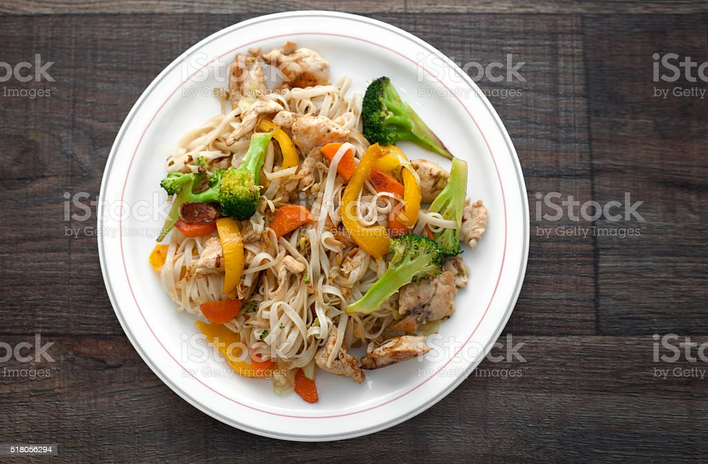 Fried Chicken Noodles royalty-free stock photo