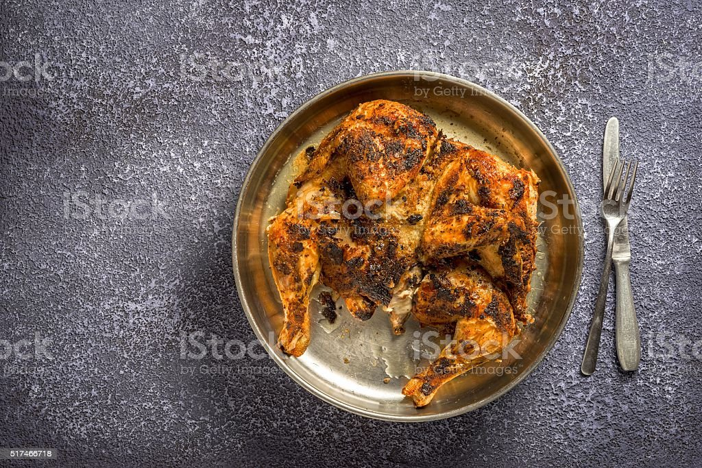 Fried chicken on a tray stock photo
