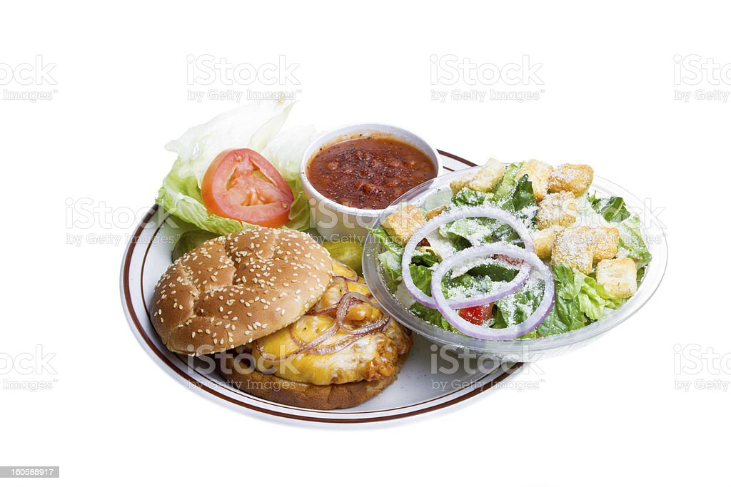 Fried Chicken Sandwich with Beans and Salad Isolated on White royalty-free stock photo
