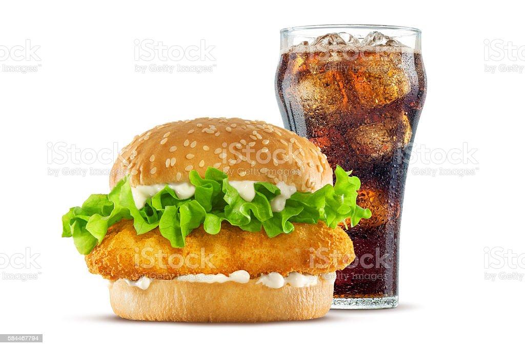 Fried Chicken Sandwich with Cola stock photo
