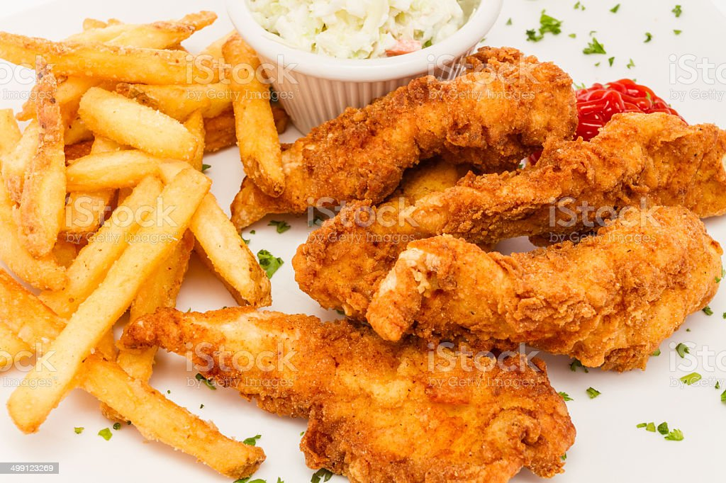 Fried chicken tenders with sides. royalty-free stock photo