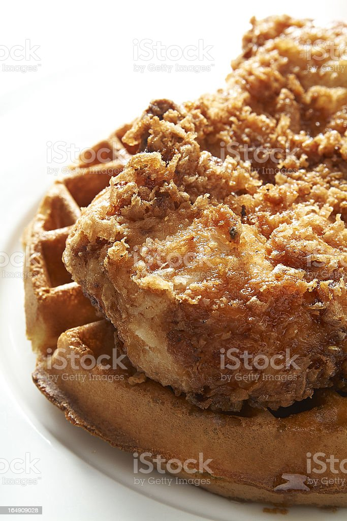 Fried chicken & waffles stock photo