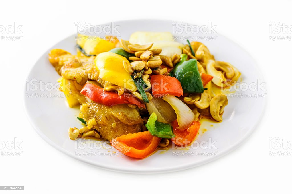Fried chicken with cashew nut and vegetables stock photo