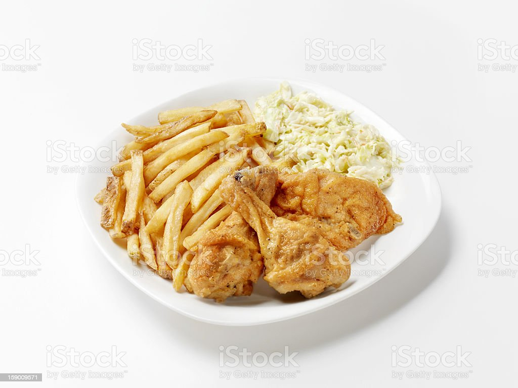 Fried Chicken with French Fries and Coleslaw royalty-free stock photo