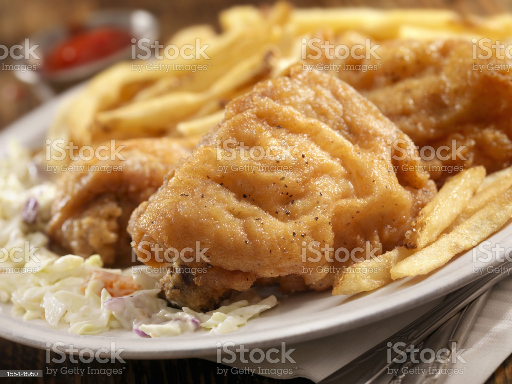 Fried Chicken with French Fries royalty-free stock photo