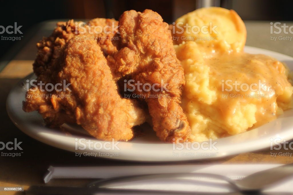 Fried Chicken with mashed Potatoes stock photo