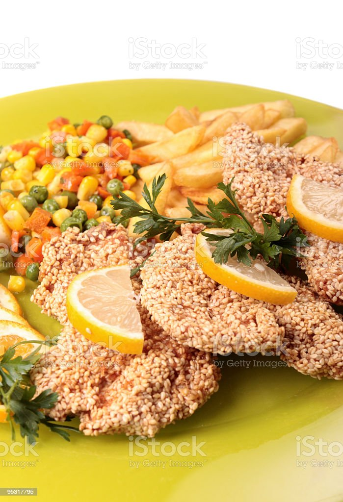 fried chicken with sesame royalty-free stock photo