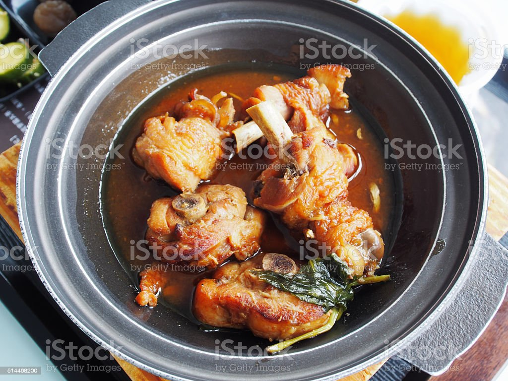 Fried chicken with three cups sauce stock photo