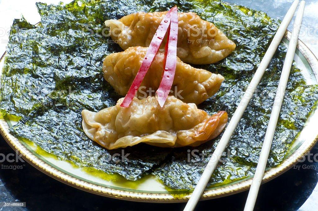 Fried Chinese Dumplings stock photo