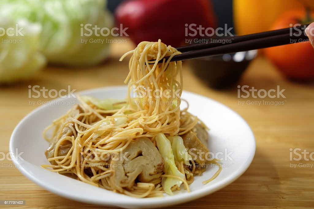 fried Chinese noodle stock photo
