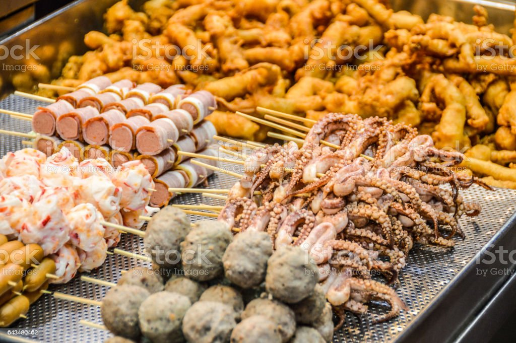 Fried Chinese street food in Hong Kong stock photo