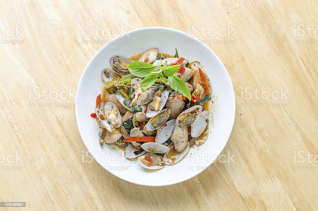 Fried Clams in Roasted Chili Paste royalty-free stock photo