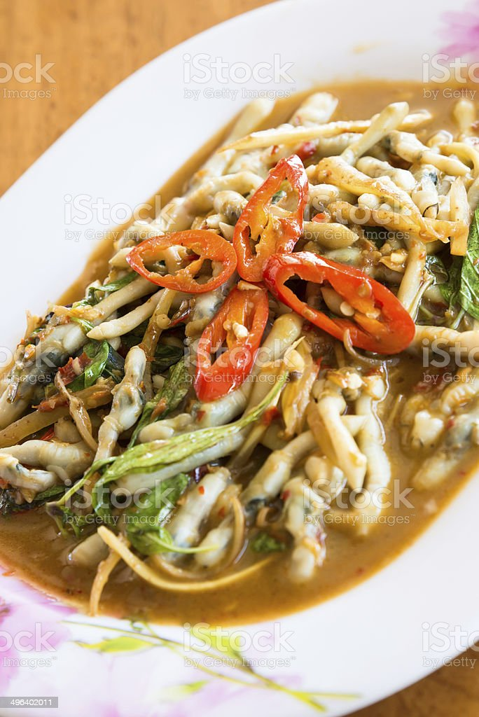 Fried clams spicy food of Thailand. royalty-free stock photo