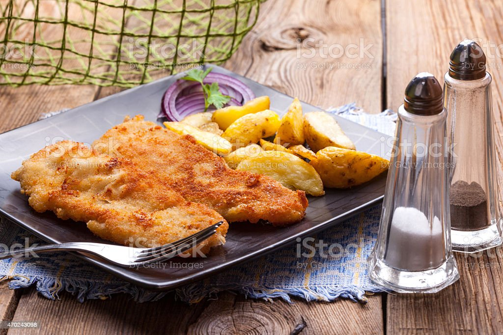 Fried cod fillet. stock photo