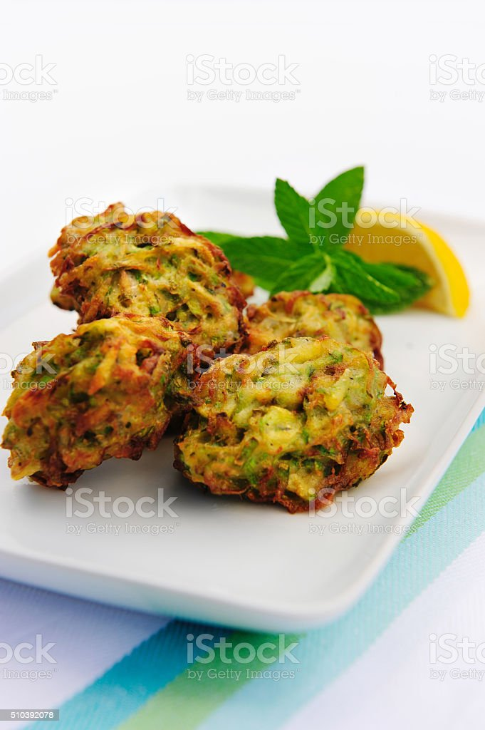 fried courgettes balls stock photo