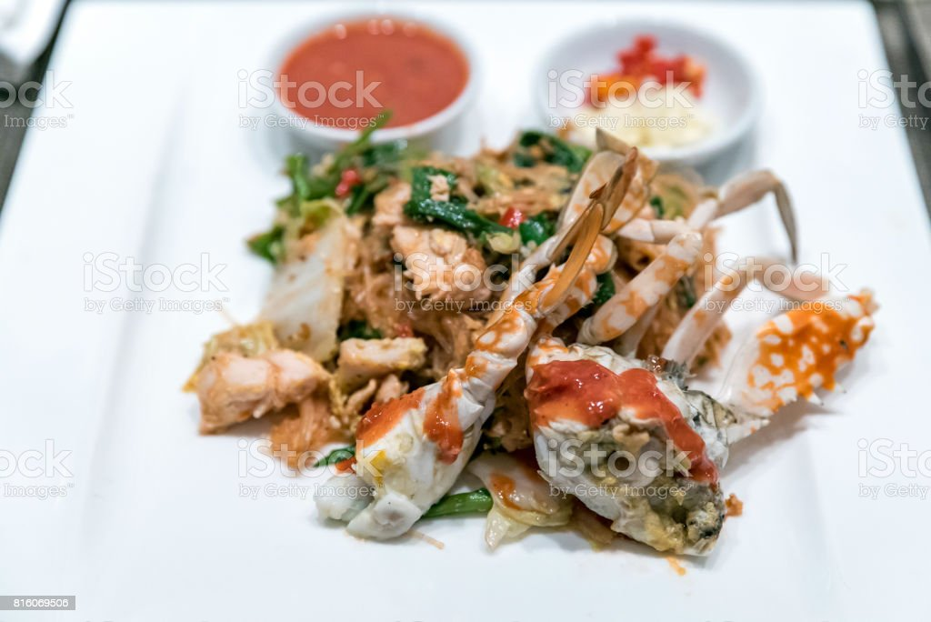 Fried crab noodle stock photo