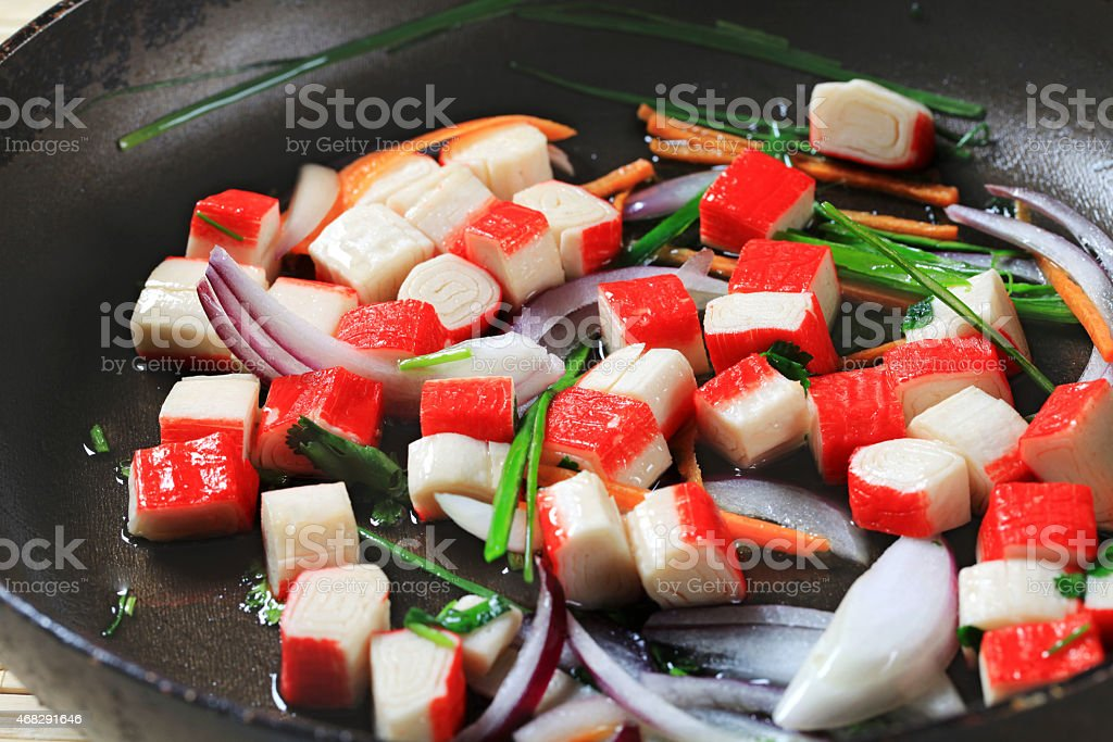 Fried crab sticks stock photo