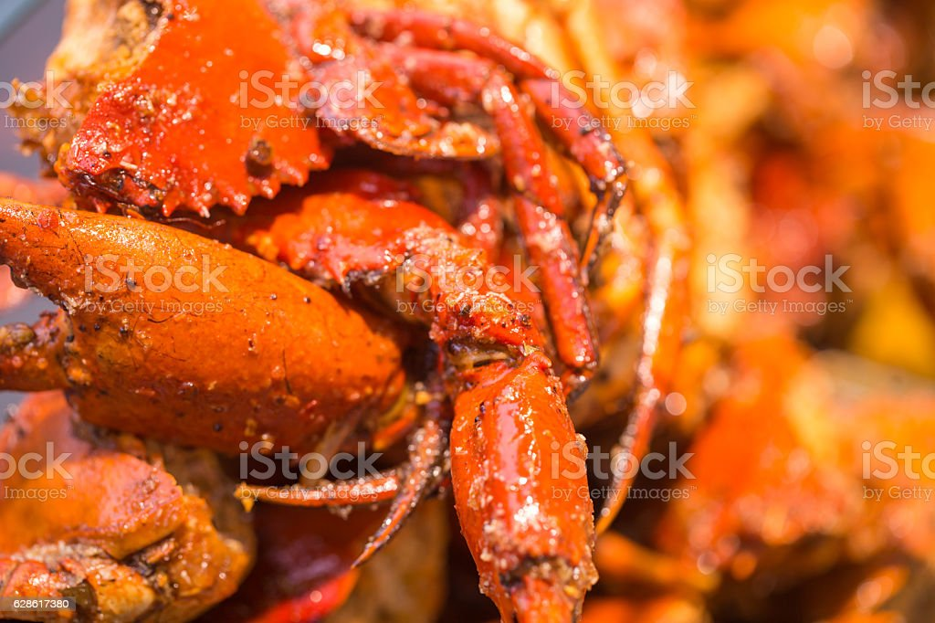 fried crab with chili pepper stock photo