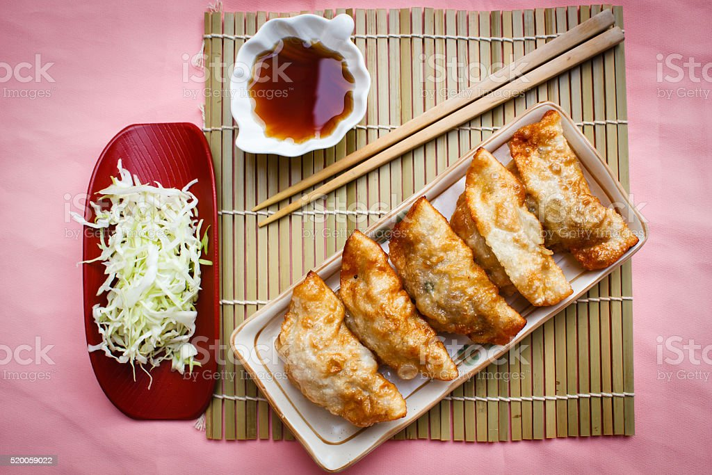 Fried Dumpling - Gyoza. stock photo