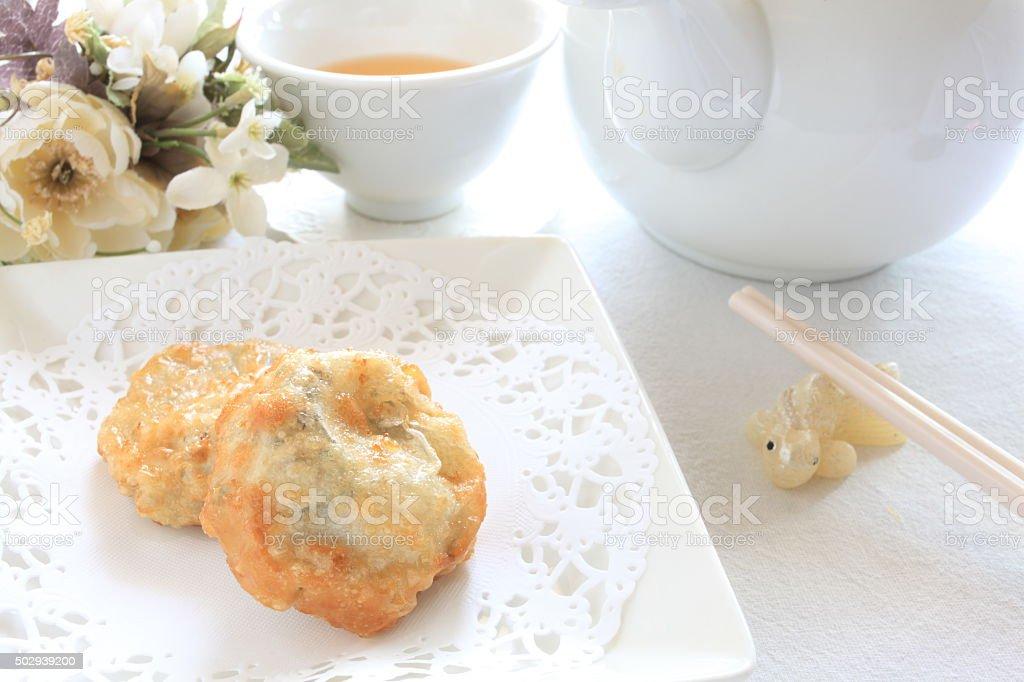 fried dumpling stock photo