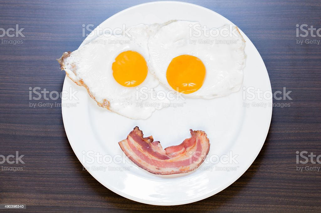 Fried Egg and bacon in the plate stock photo