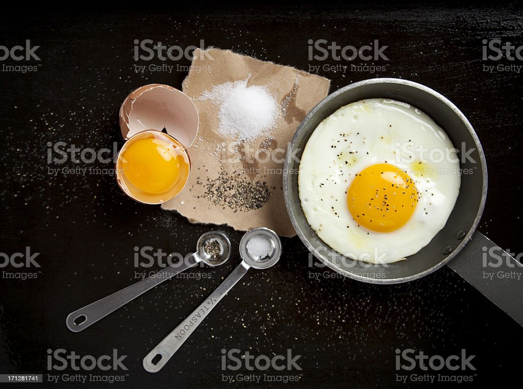 Fried egg and black pepper royalty-free stock photo