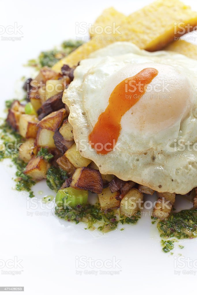 Fried Egg and Hash stock photo
