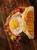 Fried Egg, Bacon, Lettuce and Tomato Waffle Sandwich