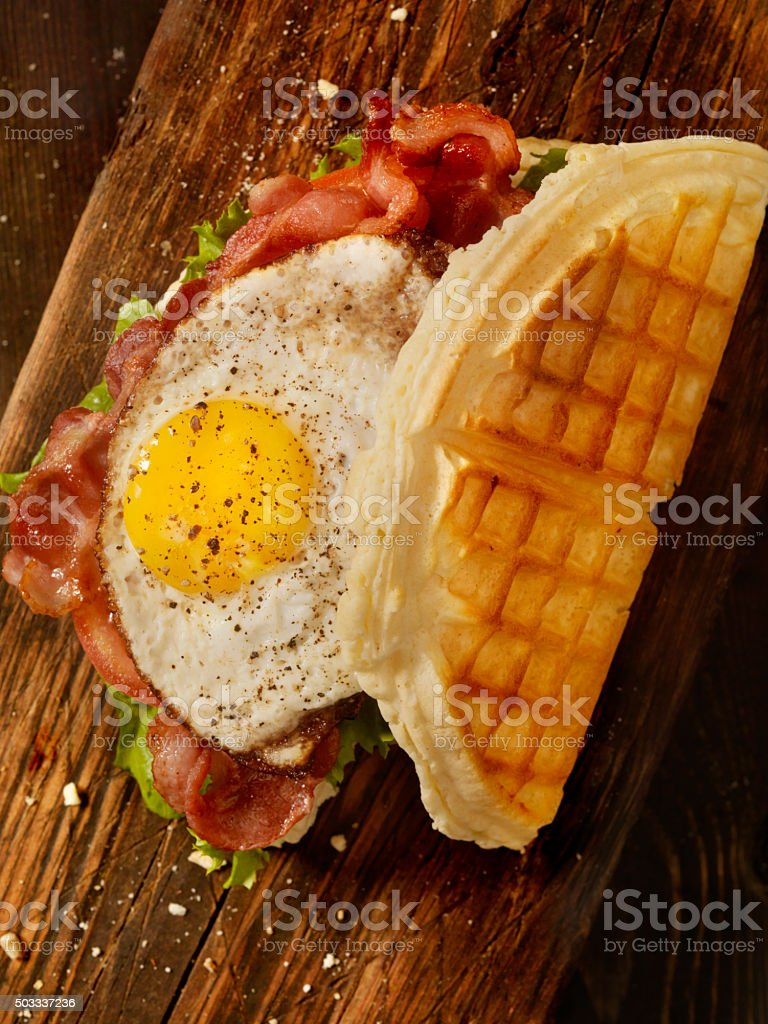 Fried Egg, BLT Waffle Sandwich stock photo