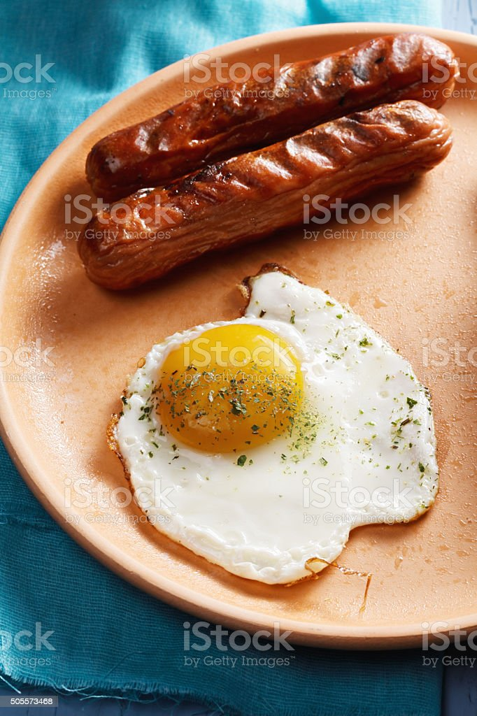 Fried egg closeup stock photo