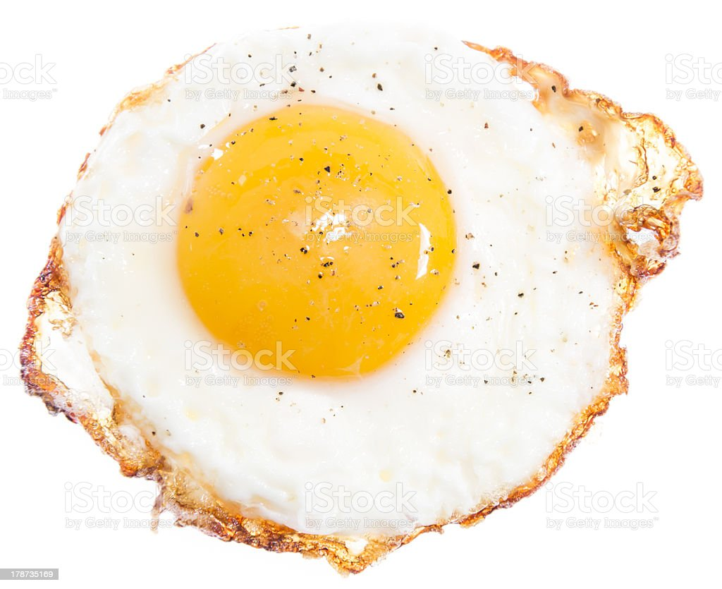 Fried Egg isolated on white stock photo