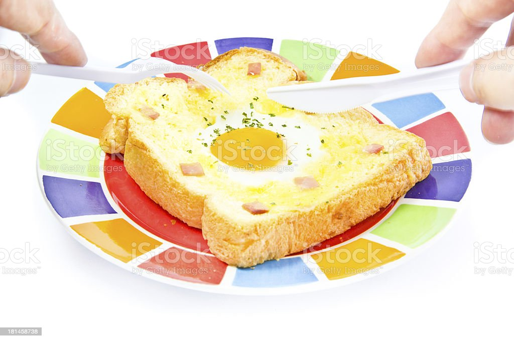 fried egg on bread stock photo