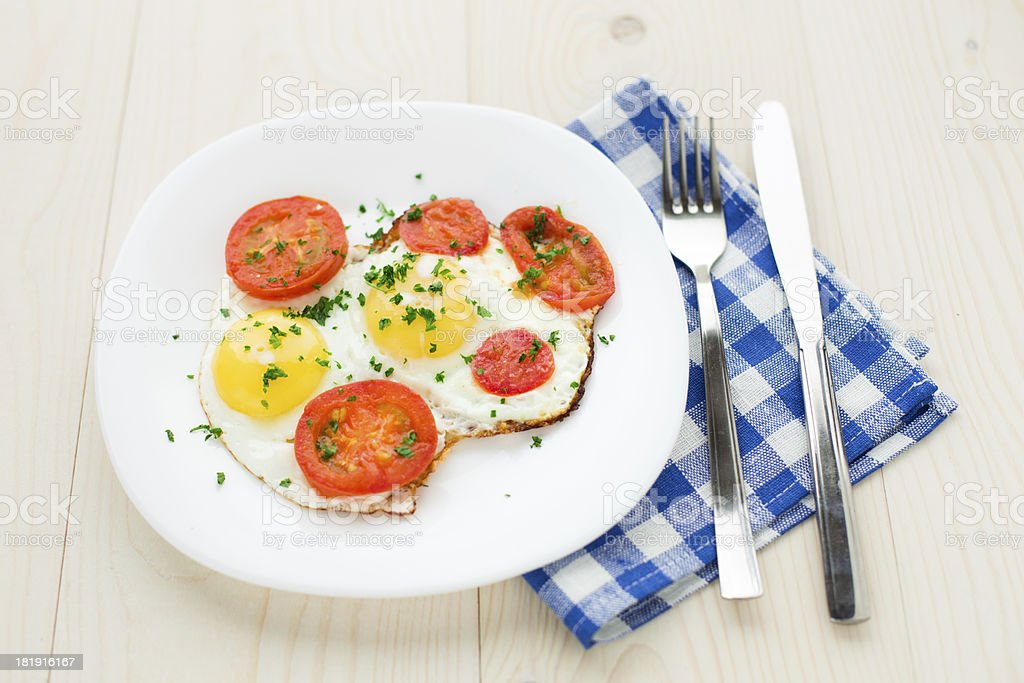 Fried egg on plate royalty-free stock photo