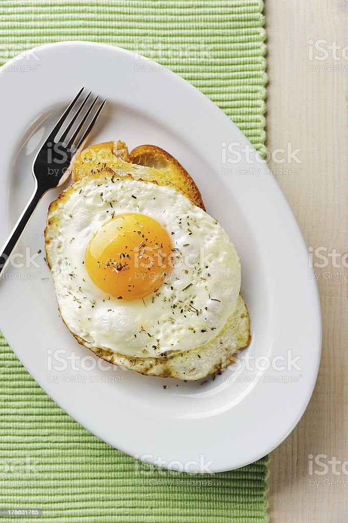 Fried egg on the toast royalty-free stock photo