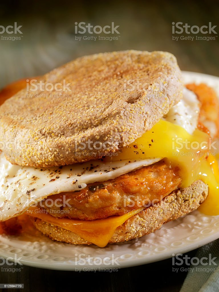 Fried Egg, Sausage and Cheese Breakfast Sandwich stock photo