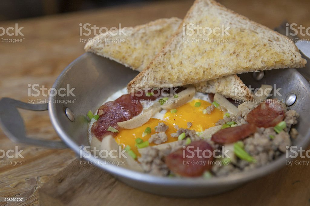 Fried Egg Stuff Hot Pan stock photo